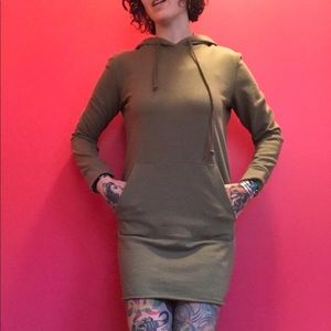 S forever 21 olive green hoodie dress